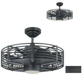 Enclave 23 In Natural Iron Downrod Mount Ceiling Fan With Light