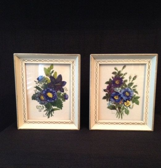 Set of 2 Small Vintage Decorel Blue Flower Bouquet Pictures in ...