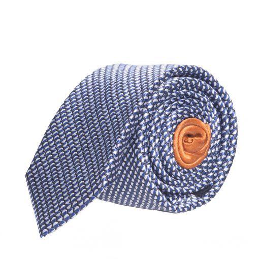a5f861baa61ee cravate-en-soie-bleue-et-blanche-a-motif-geometrique