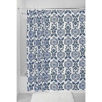 Damask Fabric Shower Curtain Long 72 X 84 Navy Blue Fabric