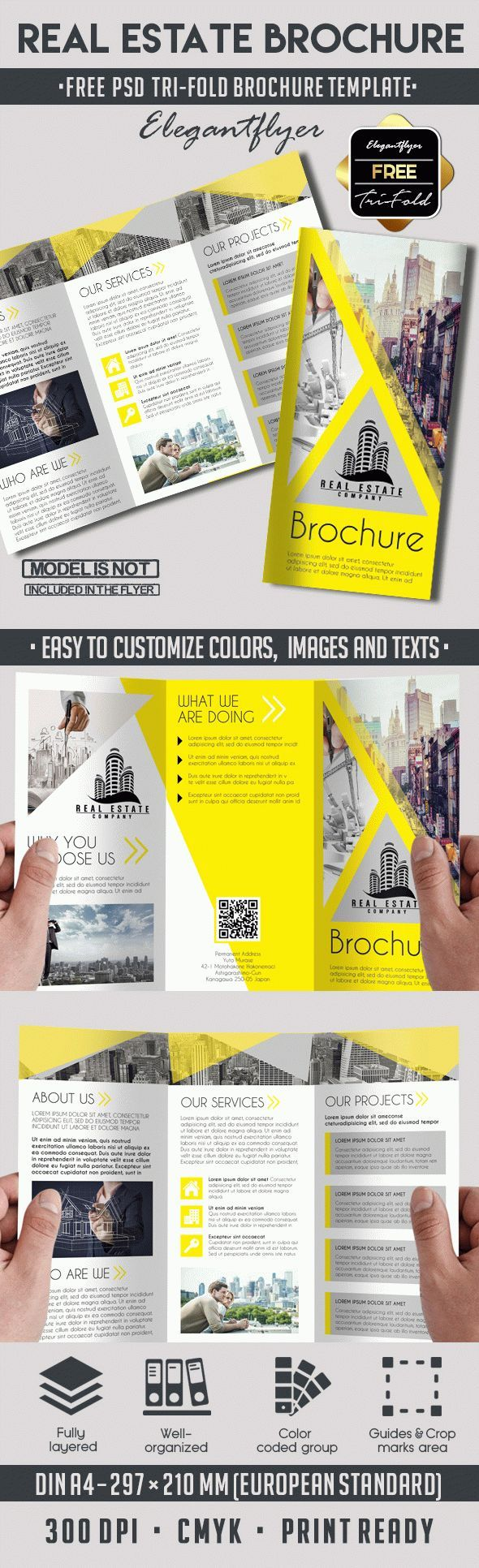 Real Estate  Free TriFold Psd Brochure Template  Free Brochure