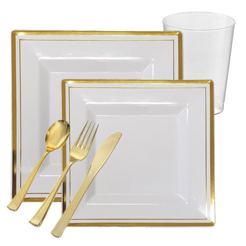 Bari Square White with Gold Band Plastic Tableware Package - Value | Plastic plates and Reception  sc 1 st  Pinterest & Bari Square White with Gold Band Plastic Tableware Package - Value ...