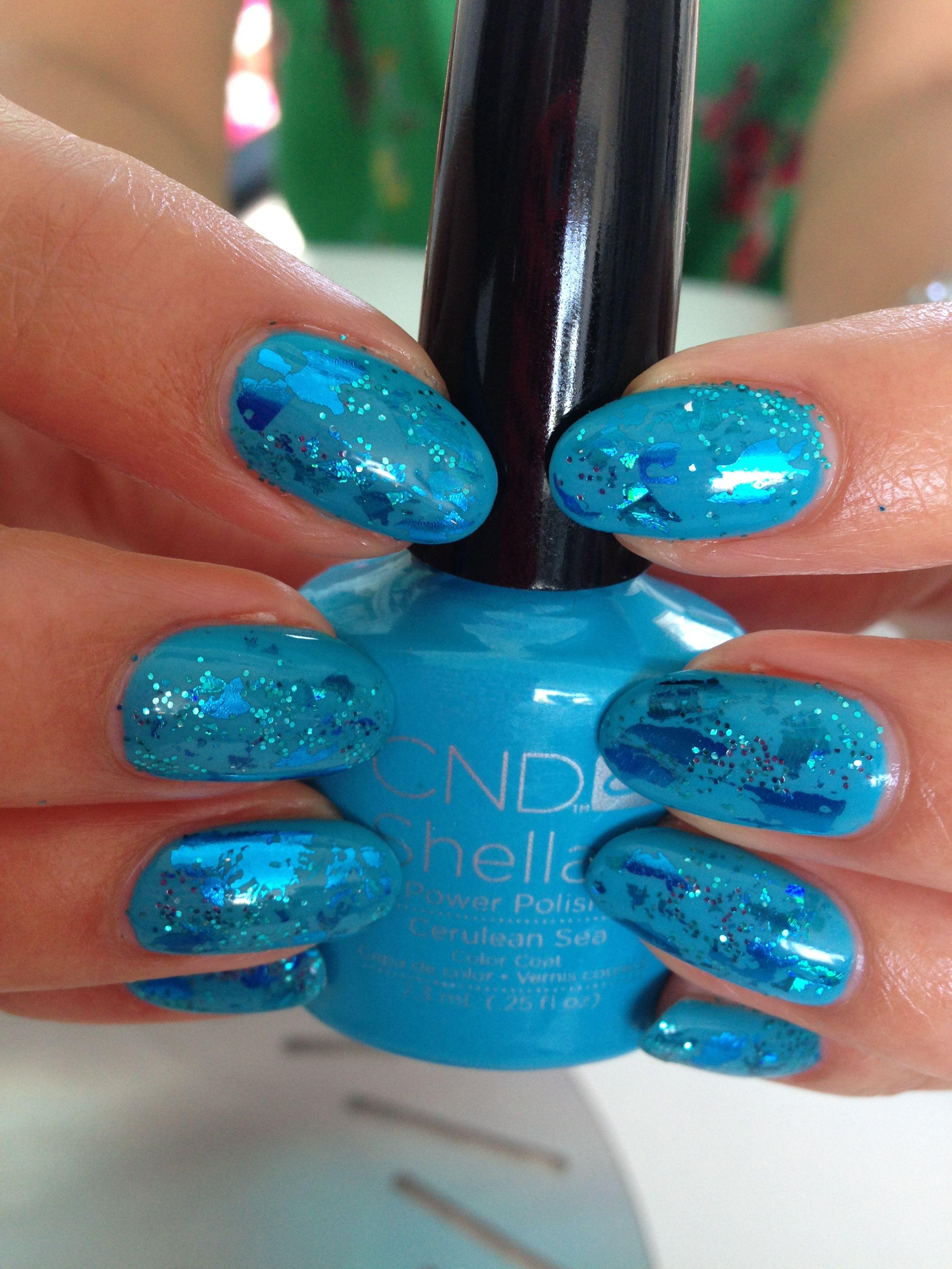 CND #Shellac #Cerulean Sea #Foil #Glitter #www.zebranailz.com ...