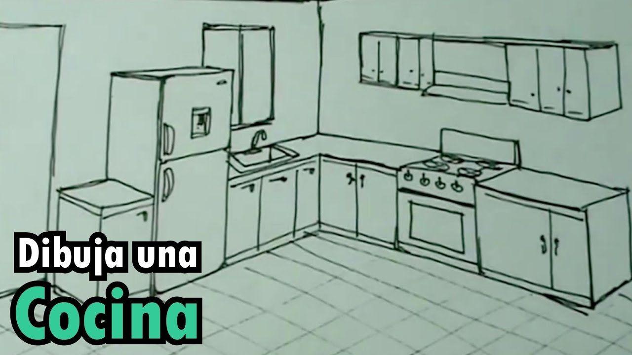 Dibuja Facil Una Cocina Con Estufa Y Nevera Drawing Kitchen