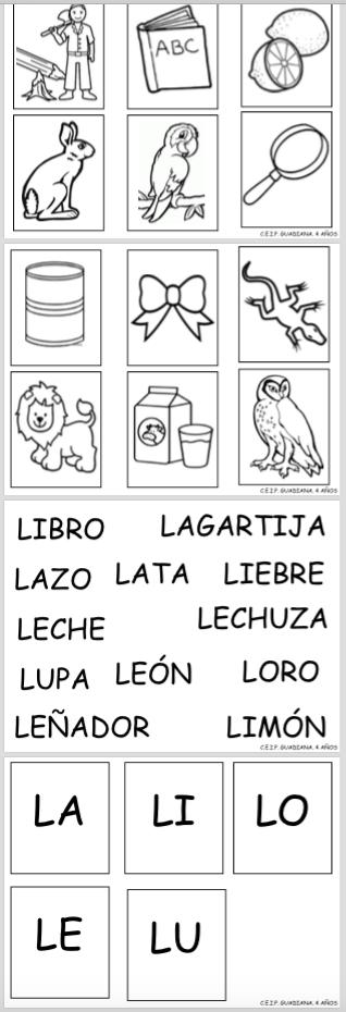Letra L Asociación Imagen Sílaba Actividades Lúdicas Educativas Actividades De Letras Lectura Y Escritura Enseñanza De Las Letras