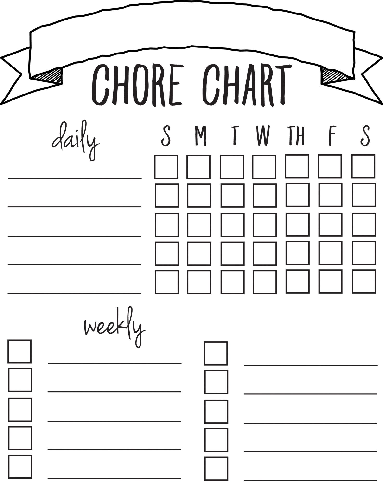 DIY Printable Chore Chart – T Chart Word