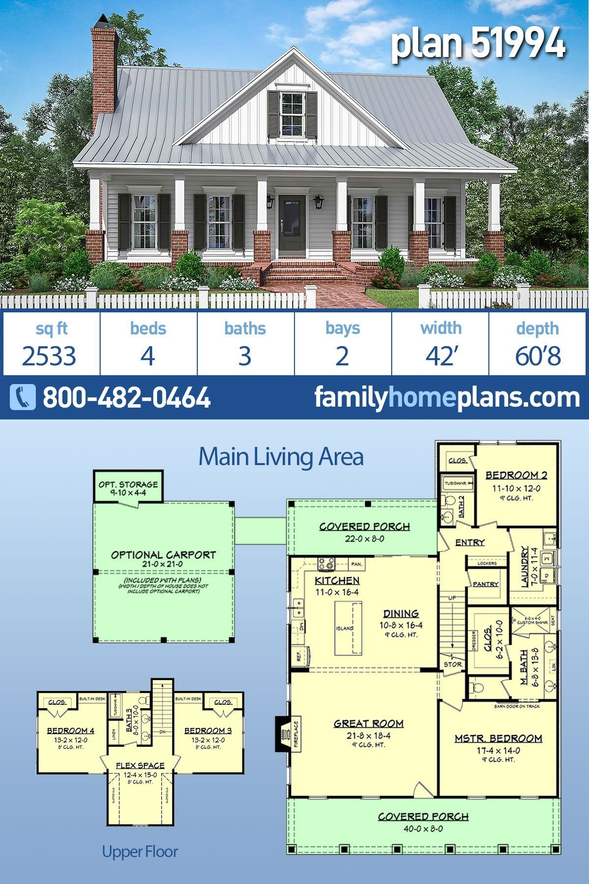 New Country House Plan 4 Bedroom 3 Bath 2533 Sq Ft Country Floor Plan At Family Home Plans In 2020 Family House Plans Country Floor Plans Country House Plans