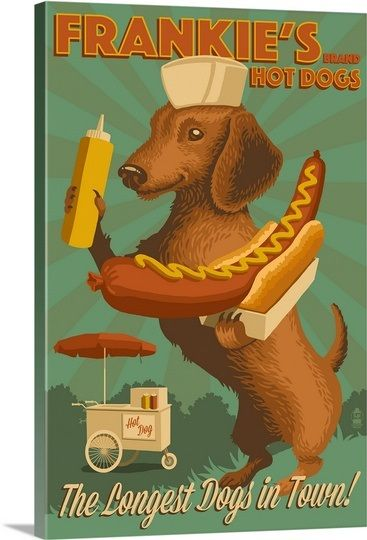 Dachshund, Retro Hotdog Ad Solid-Faced Canvas Prin