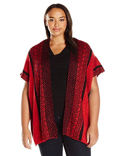 4b29f0471f3 OneWorld Womens Plus Size Aztec Poncho Open Front Sweater True Red 2X      To view further for this item