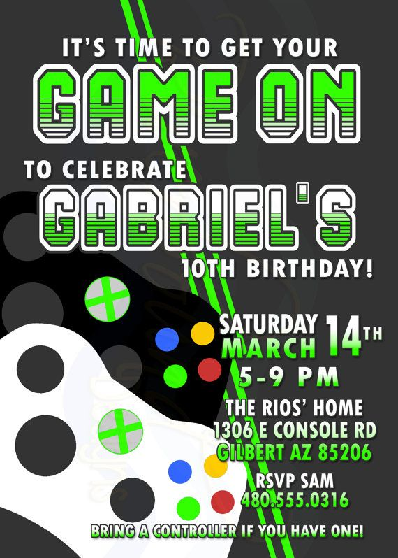 Printable Video Game Birthday Invitation Gamer Invite Video Games Birthday Game Truck Birthday Party Xbox Birthday Party