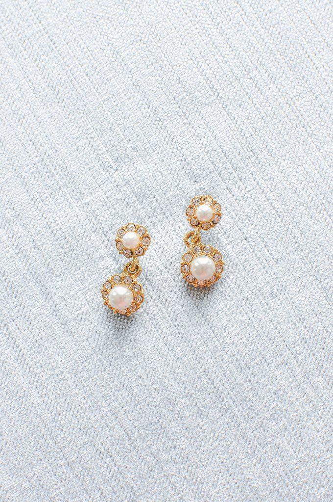 Rhinestone Pearl Drop Pierced Earrings Vintage wedding