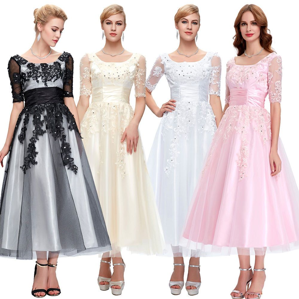 Tealength appliques evening gown prom dress formal cocktail mother