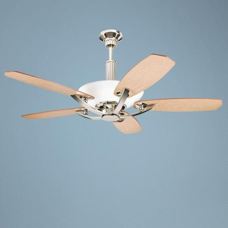 Stylish And Contemporary The Kichler Palla Ceiling Fan Comes In A Polished Nickel Finish With Beautiful White Etched Gl
