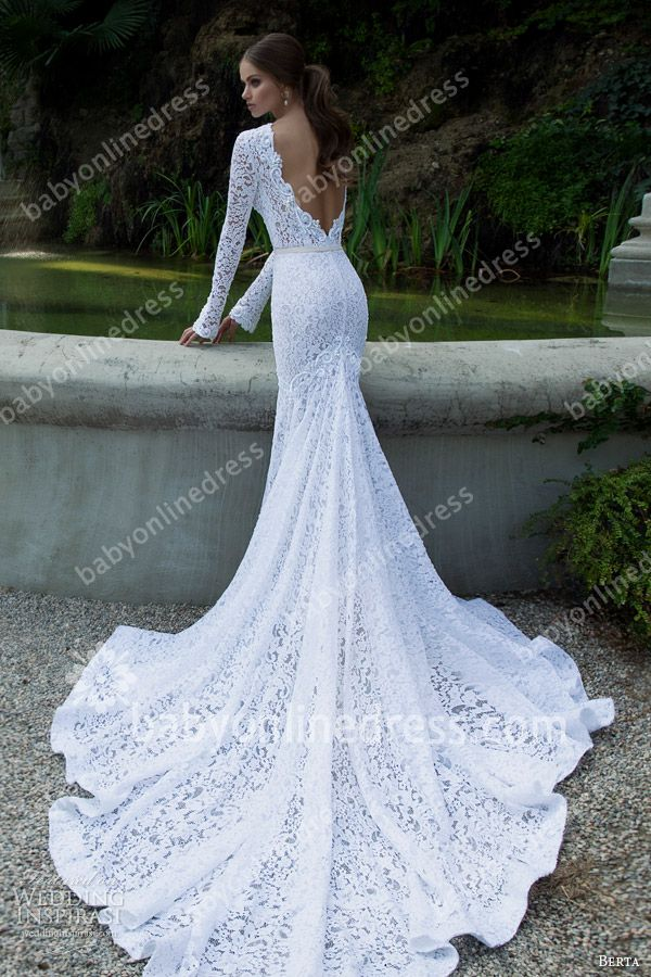lace back long sleeve sheer wedding dress trumpet - Google Search ...