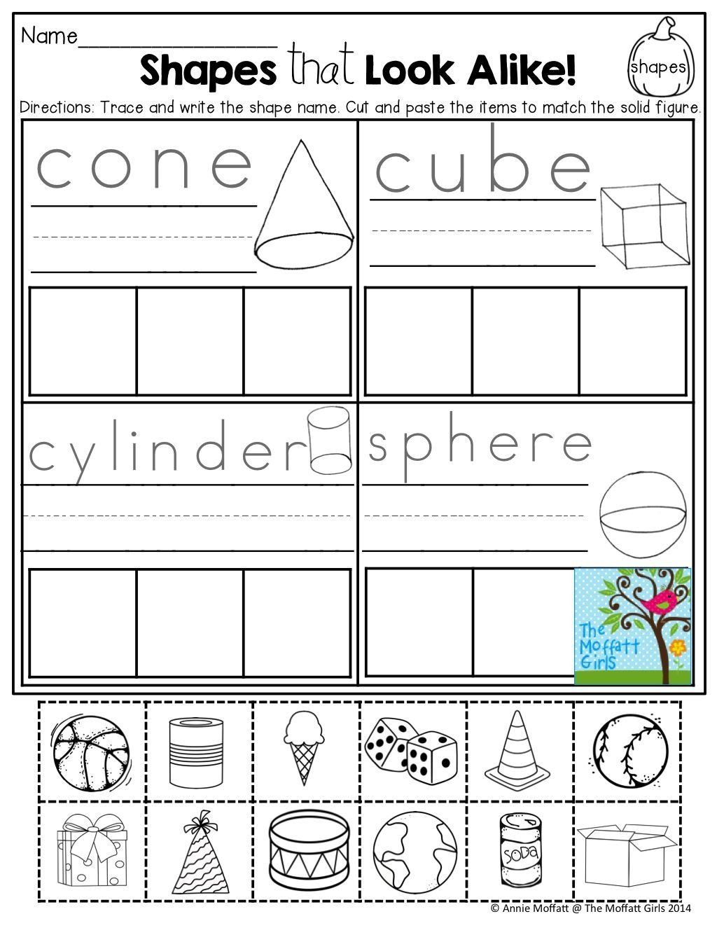 Sorting Shapes Worksheets For Kindergarten October Fun