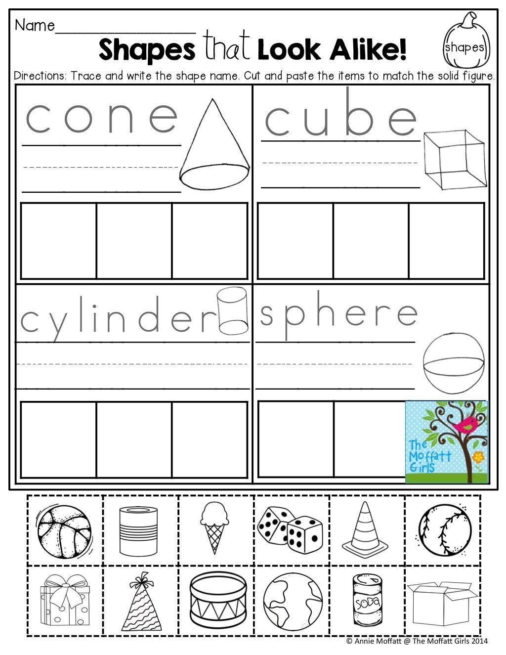 Sorting Shapes Worksheets For Kindergarten October Fun