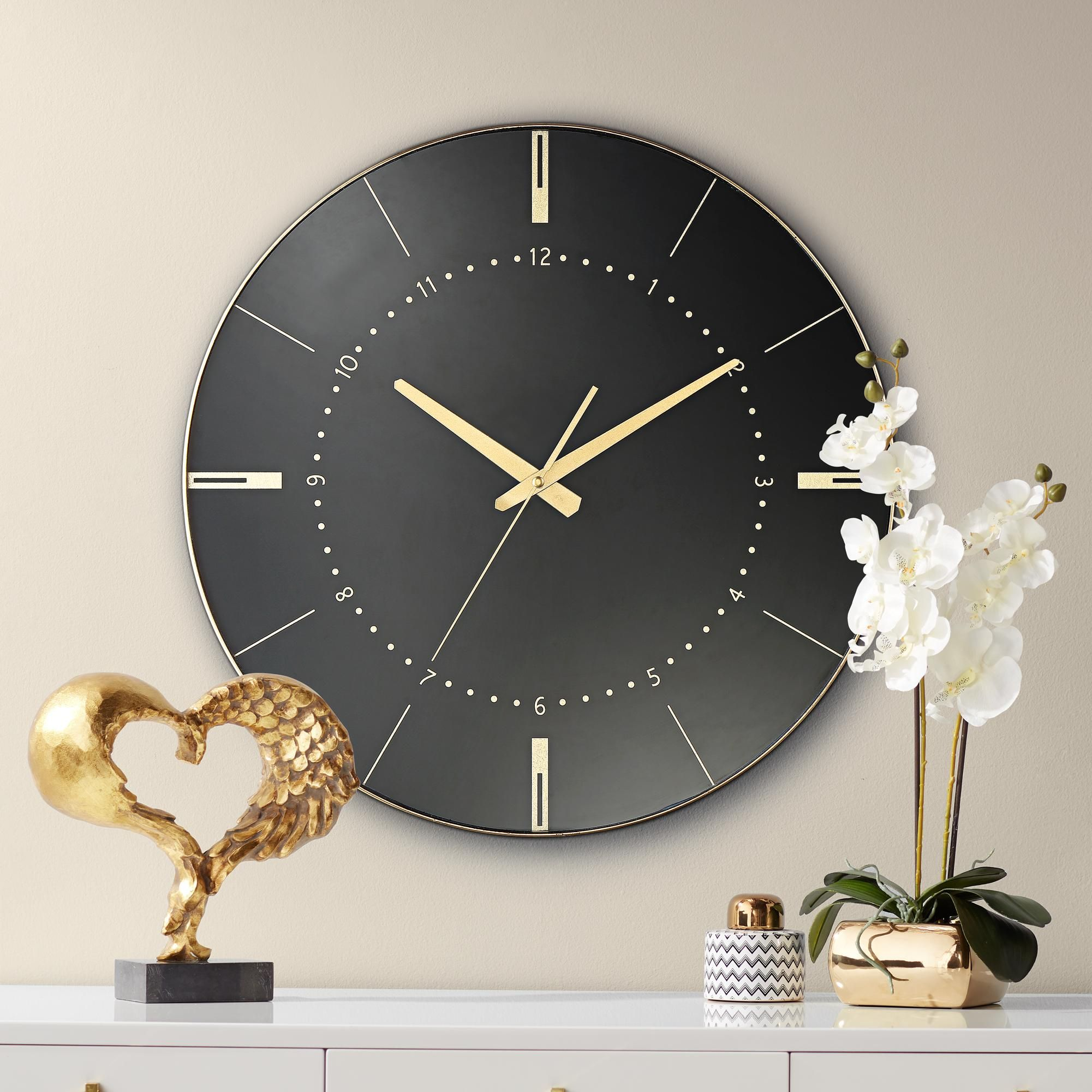 Clocks Liyana Black And Gold 17 3 4 Round Wall Clock In 2020 Gold Wall Clock Wall Clock Round Wall Clocks