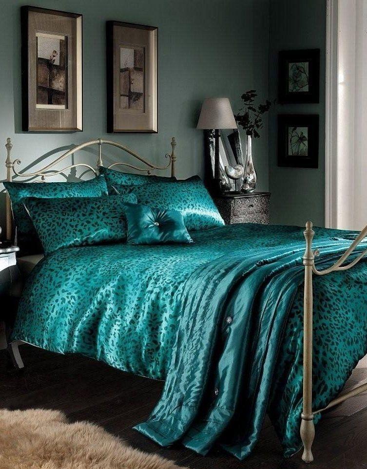 Photo Detail Leopard Print Duvet Cover Comforter Bedding Set Teal