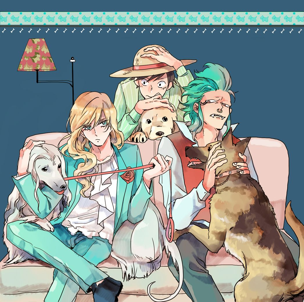 """Cavendish (Cabbage), Bartolomeo, & Luffy of One Piece (""""ワンピログ collection"""" by Luzy on pixiv.net)"""