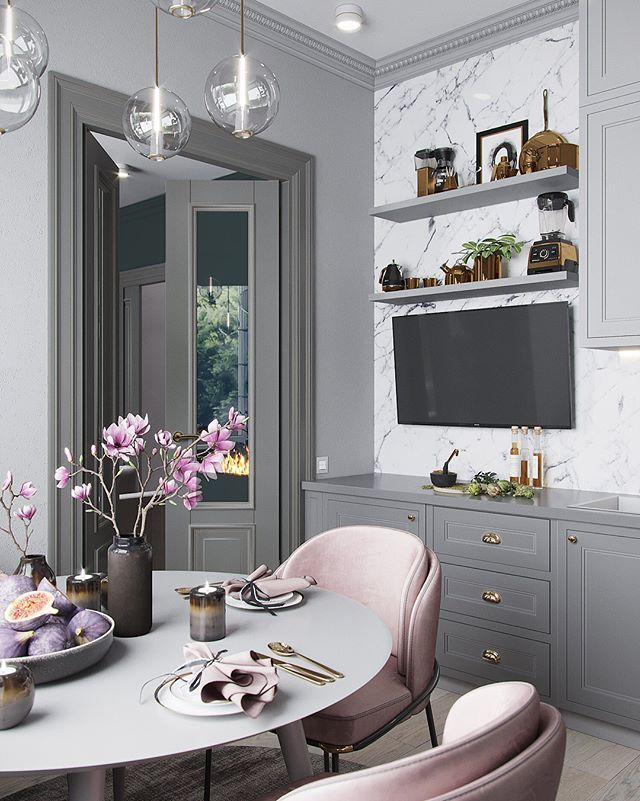 Best Grey Blush Pink Marble Gold Kitchen Ikea Bodbyn 400 x 300