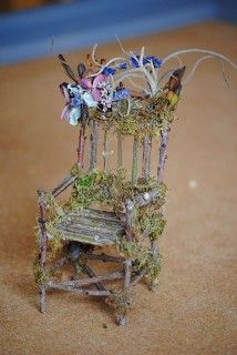 Make your own fairy garden furniture - You must visit this website @Linda Bruinenberg Bruinenberg.com to see the beautiful work of Linda H. This chair is beyond wonderful isn't it. I am grateful to @Lynne {Papermash} {Papermash} {Papermash} Agnew for her Fairy Garden board. I am thrilled to repin some of her images. A kindred soul, charmed by this miniature world. Thank you Lynne for your time and work on this board.