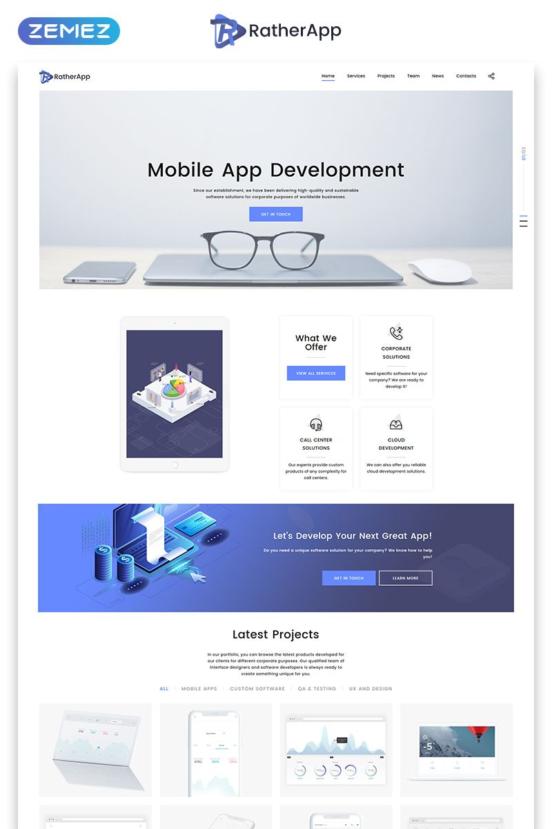 Ratherapp Landing Page Html Template About Us Page Design Website Template Free Place Card Template