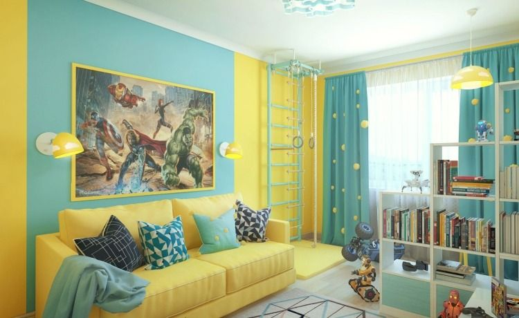 chambre enfant bleu peinture murale bleu ciel et jaune. Black Bedroom Furniture Sets. Home Design Ideas