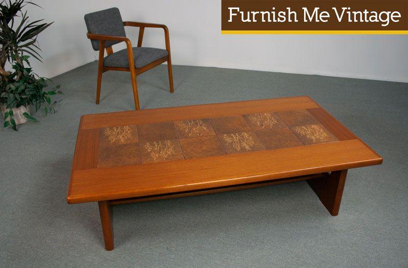 Large Vintage Danish Teak Coffee Table With Tile Teak Coffee