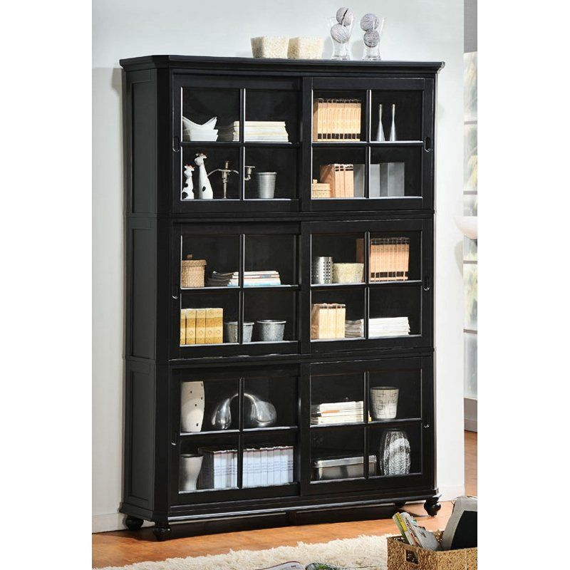 Homelegance Stackable Wood Bookcase With Sliding Glass Door Black