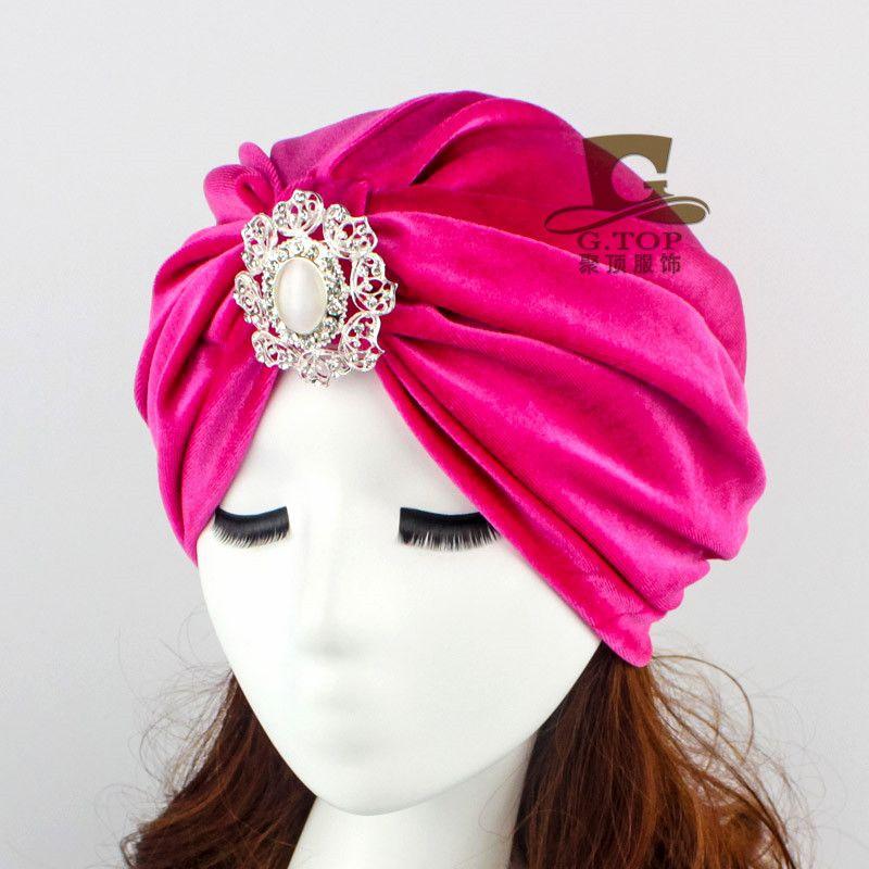 9b9ec8dc2dc Velvet Flapper stone jeweled Stretch Full Turban Headband Great Gatsby Ear  Warmer Hat VT-22