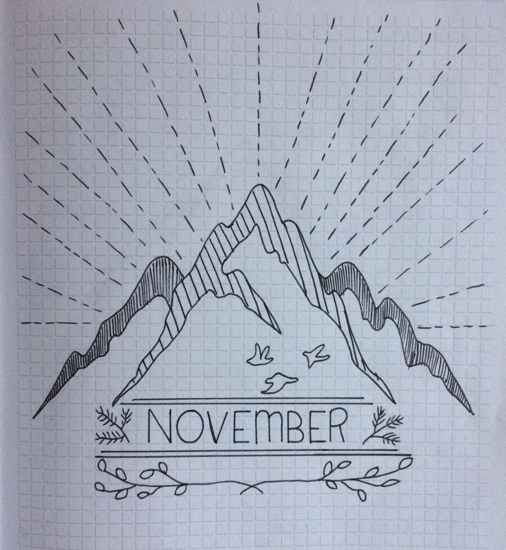 November theme, Bullet journal, Mountain, hiking & nature ...