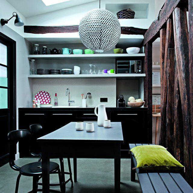 Une cuisine noire et blanche graphique Pinterest Kitchens