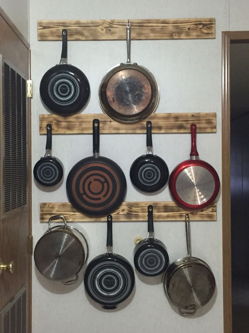 Hanging Pots And Pans Used Burnt Wood