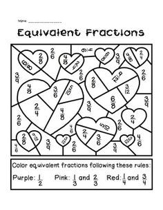 math worksheet : valentineu0027s day equivalent fractions activity  fraction  : Math Fraction Coloring Sheets