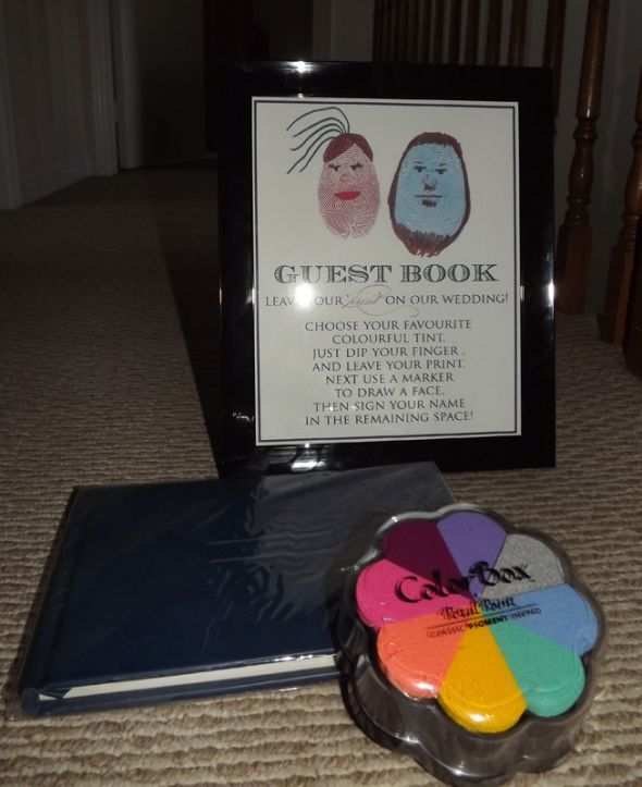 Cute Wedding Guest Book Ideas: Cute Little Sign For The Thumb Print Guestbook