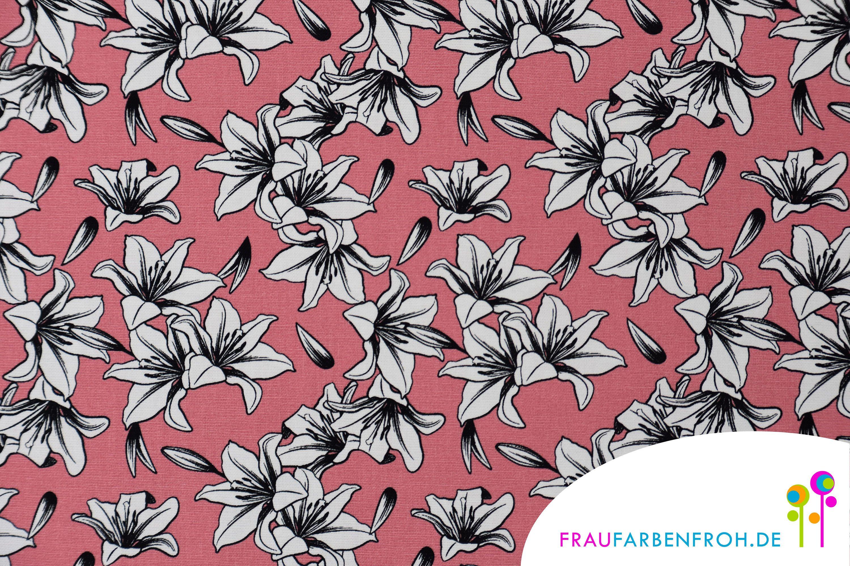 Canvas Lily Altrosa Als Meterware Für Kissen Vorhänge Stoff Meterware Mit Lilien Blumenmuster In 2020