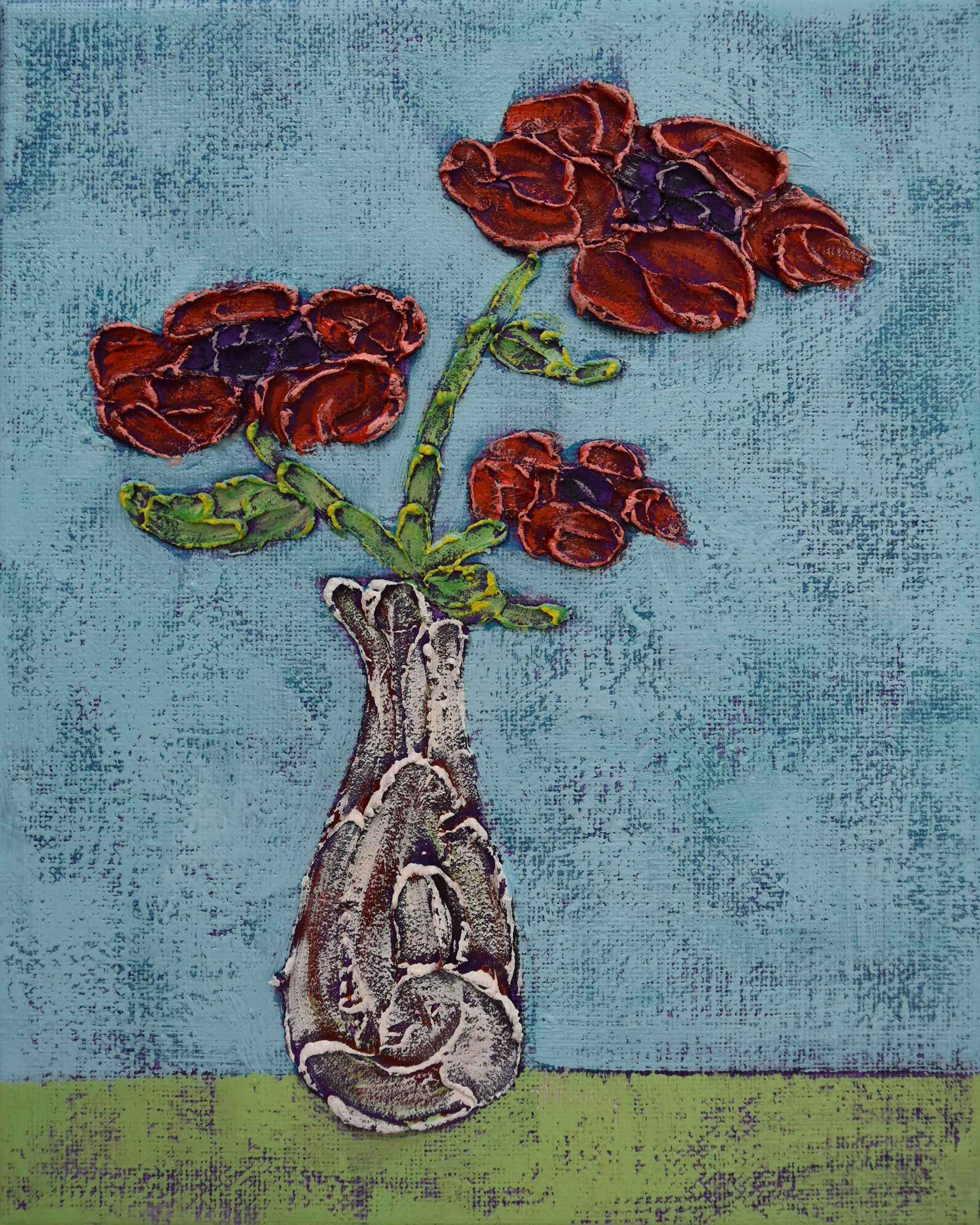 Small Flower Painting Impasto Red Poppies Texture