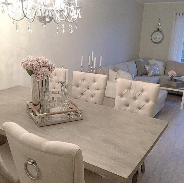 Schönes Wohnzimmer Esstisch Landhausstil Innenarchitektur Creme Stühle … - Holz Tisch DIY #designcandles