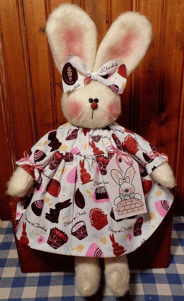 Primitive Handmade EASTER BUNNY RABBIT Doll EASTER CANDY Dress Folk Art #NaivePrimitive