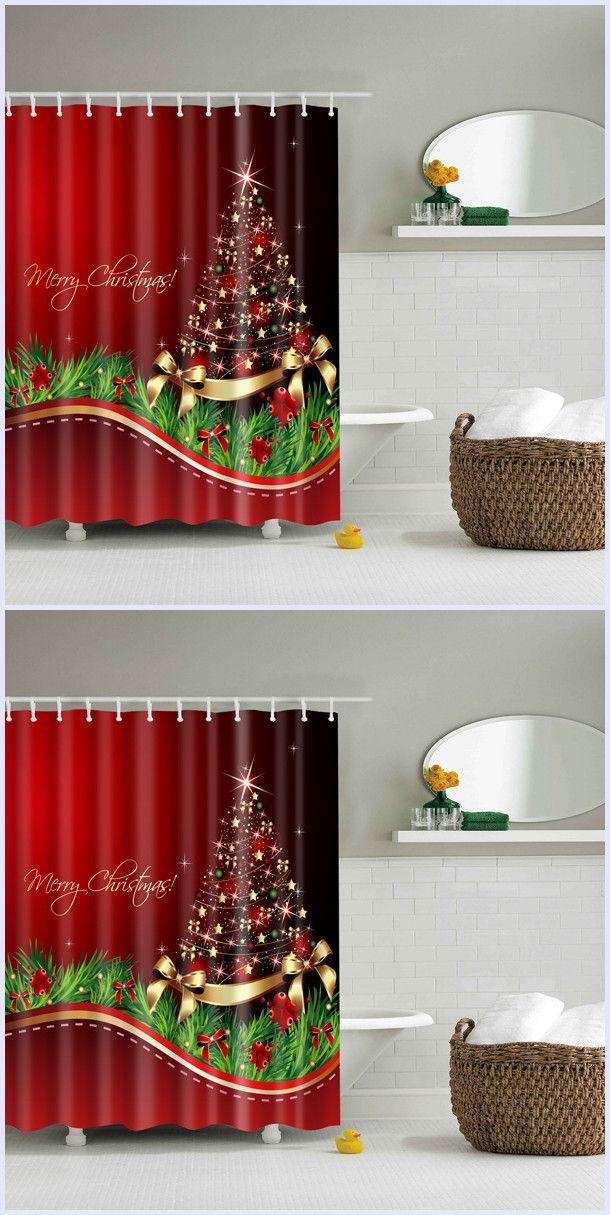 Good Quality Bathroom Waterproof Merry Christmas Shower Curtain