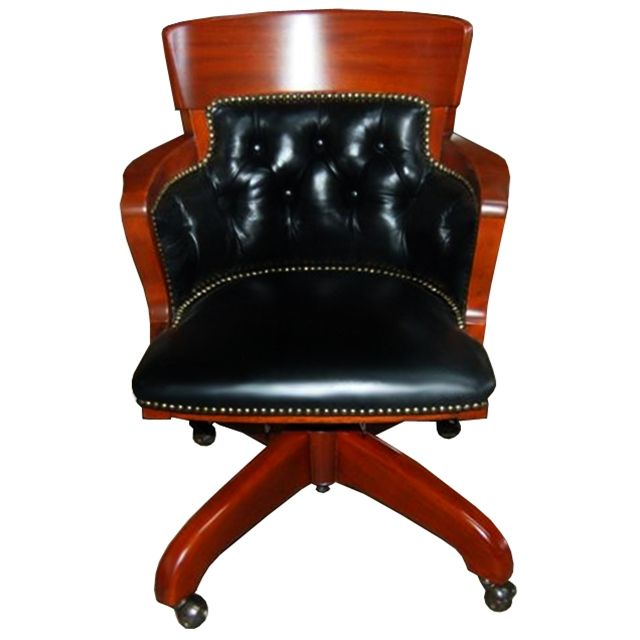 Very Elegant And Refined Antiqe American Bucket Swivel Chair. Executed In  Mahogany And Upholstered In
