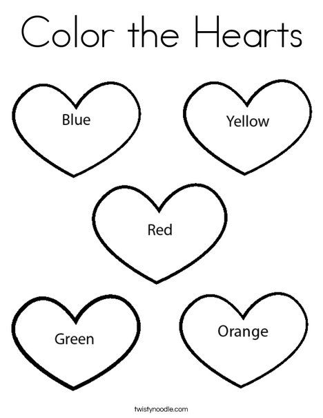 color the hearts coloring page twisty