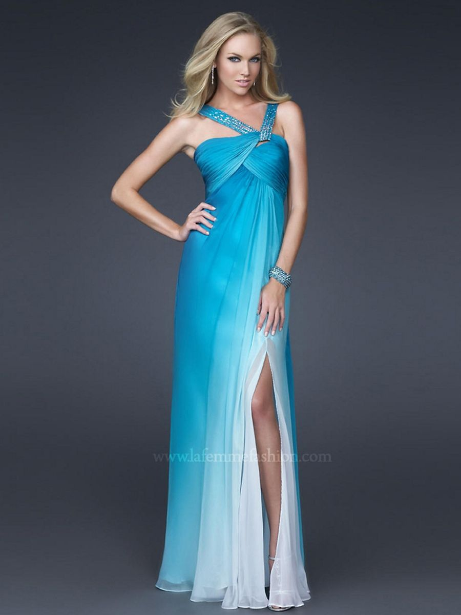 Floor Length Sheath Slit Halter Sequined Top Ice Blue Chiffon Prom ...
