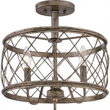Dury Semi-Flush Mount Light - Cage Light Fixture - Semi-flush Mount Ceiling Lights - Semi-flush Ceiling Light - Semi-flush Mount Lighting - Ceiling Light Fixtures   HomeDecorators.com