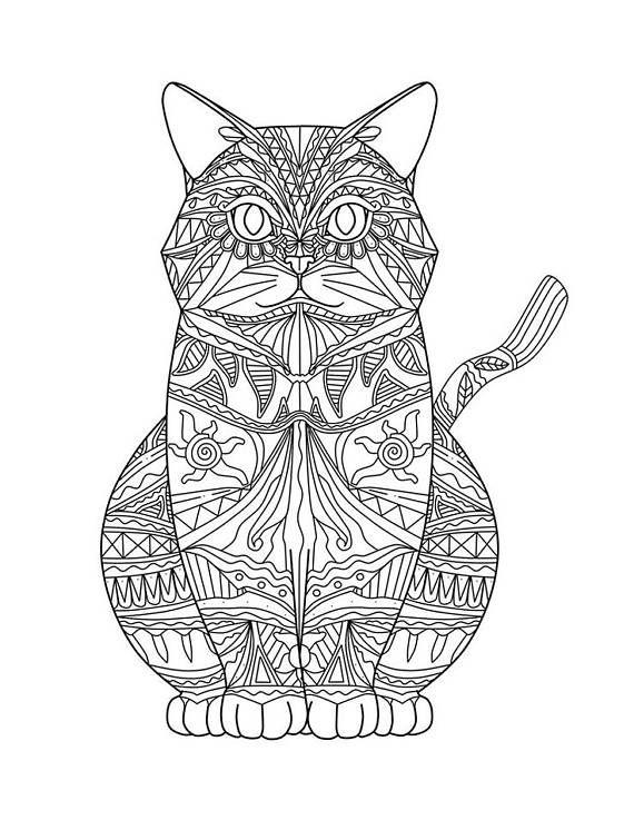 Cat Mandala Svg Cat Coloring Page Cat Coloring Book Mandala Coloring Pages