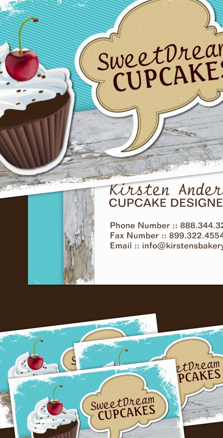 Retro Cool Cupcake Bakery Business Cards | Business cards, Retro and ...