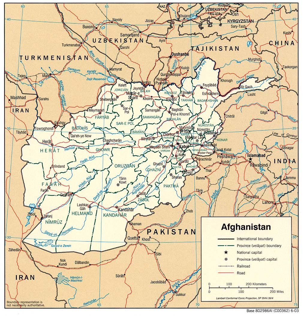 Provincial map of Afghanistan Afghanistan is located in central