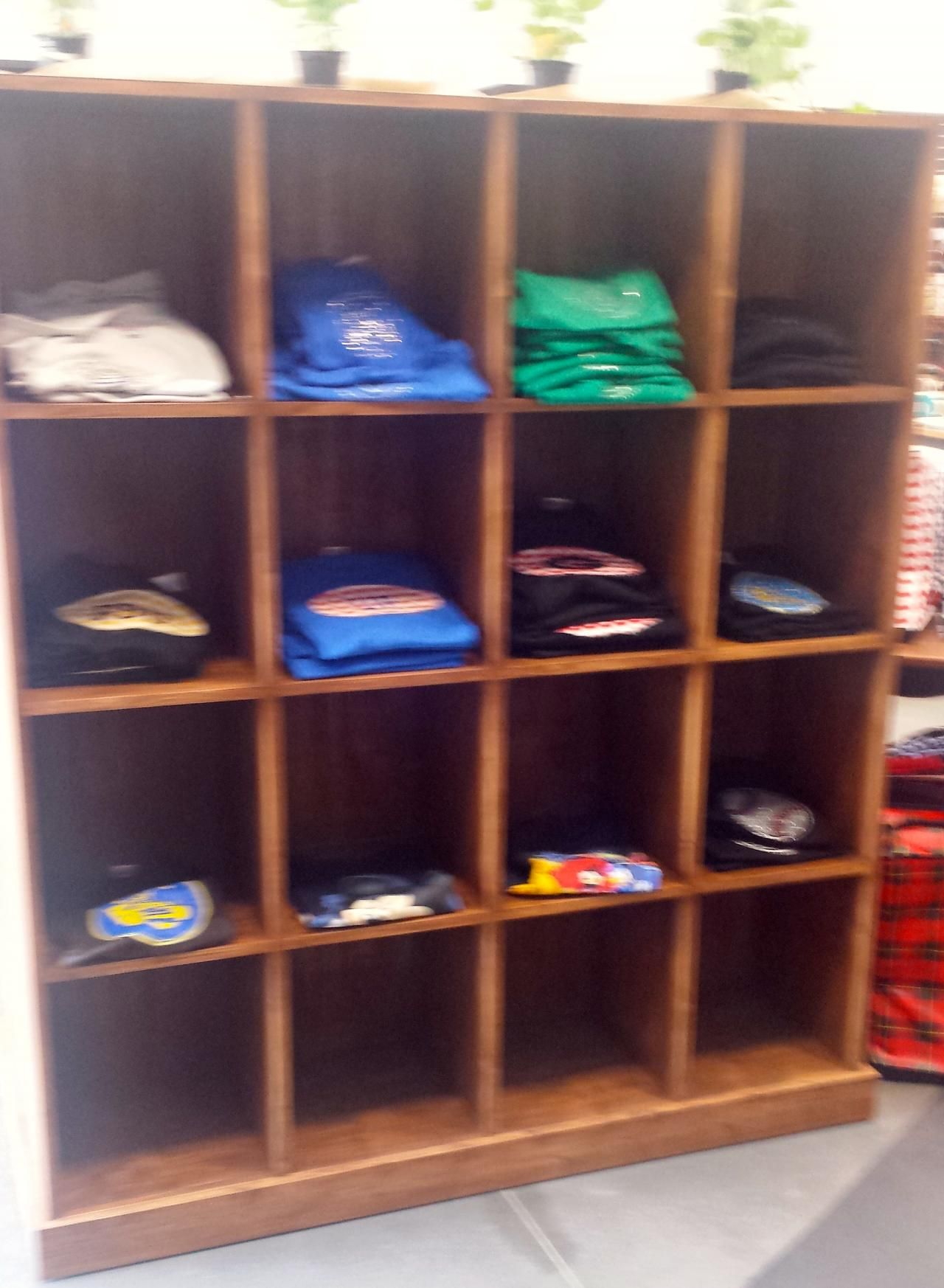 Rustic wood t shirt cubby display unit wooden display for Retail shirt display ideas