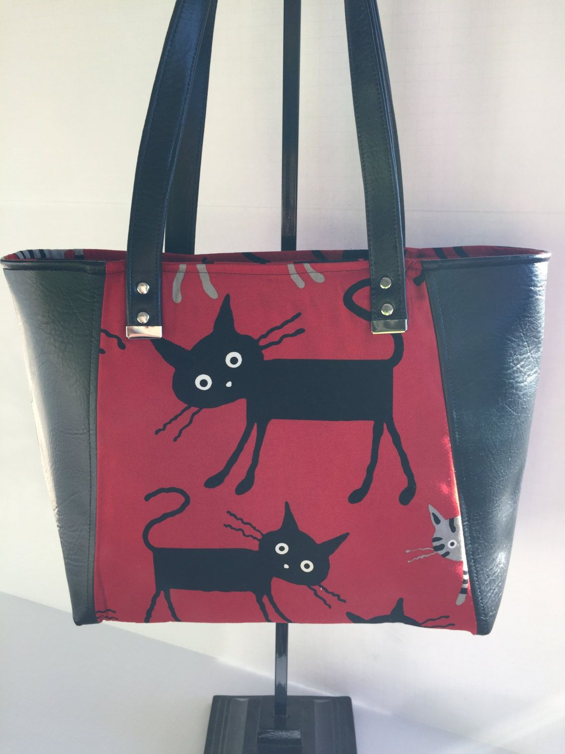 a11cd323ef Red and Black Japanese Canvas Everyday Tote Bag with Black Vinyl Accents,  Vegan Leather, Shoulder Bag, Women's Purse by JazzyJoDesigns on Etsy