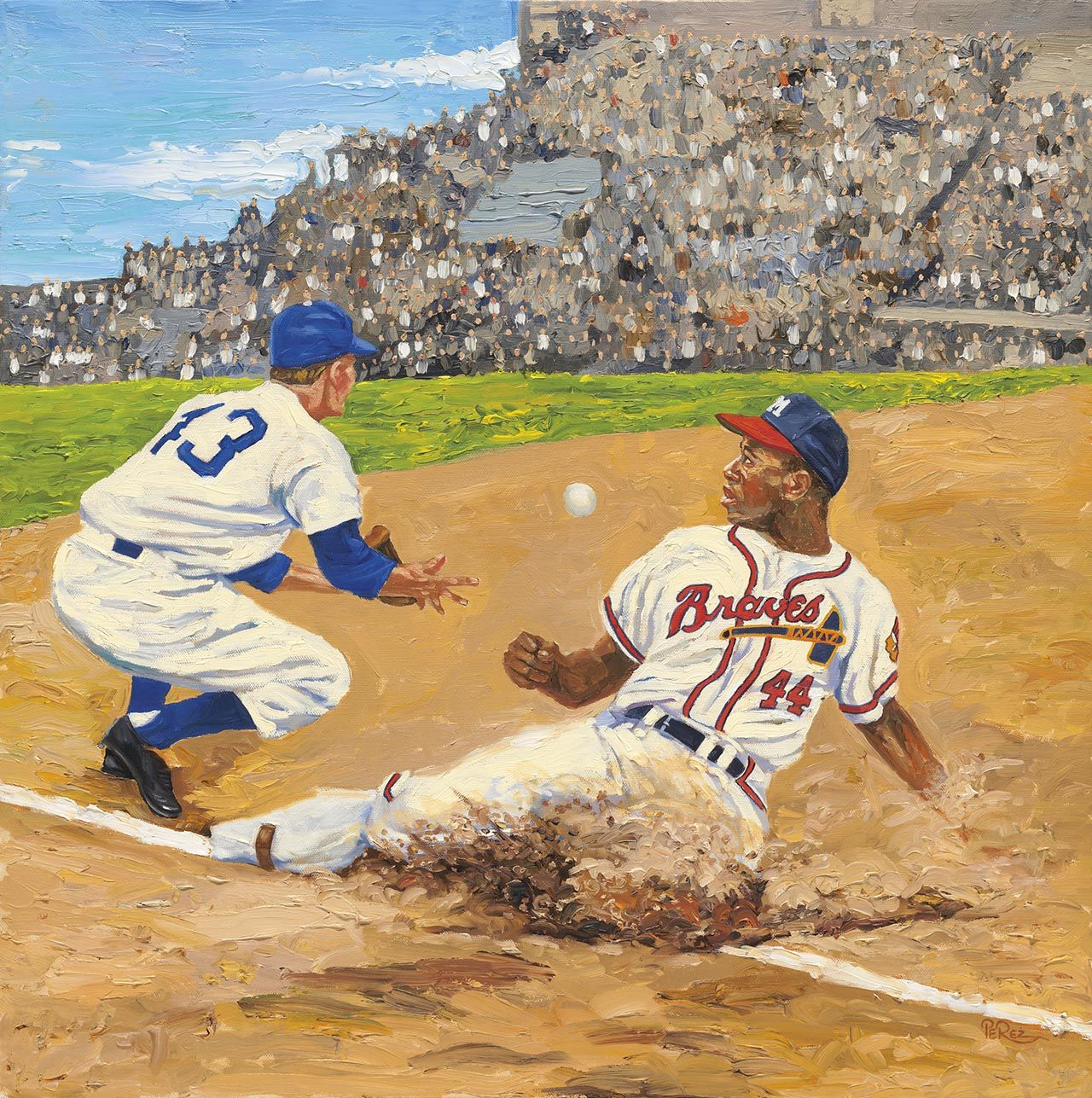 Hank Aaron Baseball Painting Baseball Art Atlanta Braves